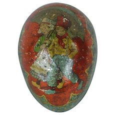 1890's-1900's German Tin Easter Egg with Blue Backing
