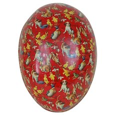 1910's Huge German Dresden Trimmed Lithograph Easter Egg