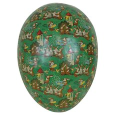 1910's Huge German White Dresden Trimmed Lithographed Easter Egg