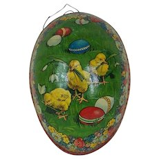 1890's-1900's German Lithographed Easter Egg with Red Dresden Trimming