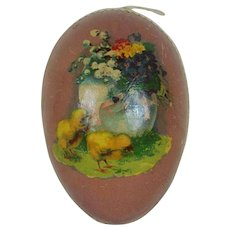 Early 1900's Large Lithographed and White Dresden German Easter Egg