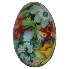 1900's Lithographed German Easter Egg with Gold Dresden Trimming