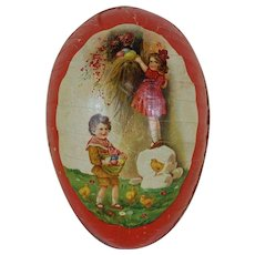 Large 1890's-1900's German Easter Egg with Red Dresden Trim