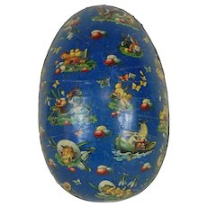 Very Large German Easter Egg with Blue Lithograph and Gold Dresden Trim