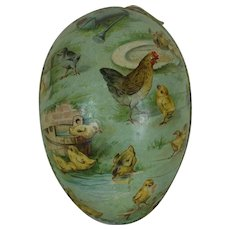 1900's Large Lithographed German Easter Egg with Dresden Trim