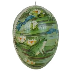 Early 20th Century German Easter Egg with Dresden Trim and Lithograph