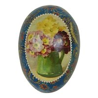 Early 20th Century German Easter Egg with Floral and Seahorse Lithograph