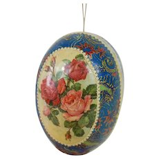 1900's German Lithographed Easter Egg with Rose and Seahorse Pattern Lithograph