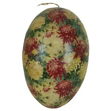 Large 1900's Floral Pattern German Easter Egg with White Dresden Trim