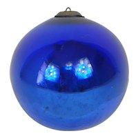 1890's-1900's Kugel Large Blue Christmas Ball