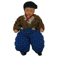 Carl Horn German Bisque Miniature Doll with Blue Pants