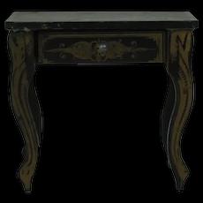 1900's Biedermeier Dollhouse Black Desk with Gold Paint