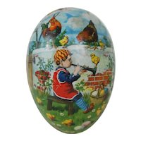 1910's Large German Easter Egg with White Dresden Trim and Lithograph