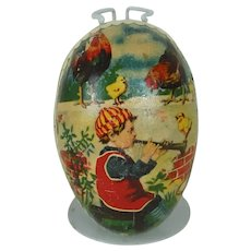 1910's Small Lithographed German Easter Egg with White Dresden Trim