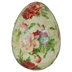 1910's German Easter Egg with Rose Lithograph and Gold Dresden Trim