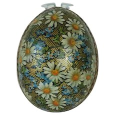 1910's Flower Lithograph German Easter Egg with Gold Trim
