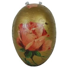 1910's Rose Lithograph German Easter Egg with Gold trim