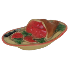 1920's American Viscaloid Celluloid Ham Food Dish