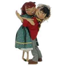 1960's Annalee Mobilitee Doll Boy and Girl Hugging