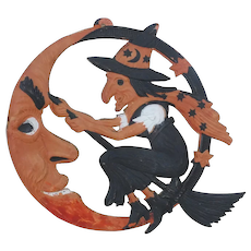 1920's German Embossed Die-Cut Halloween Witch and Crescent Moon