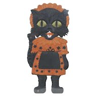 1920's German Embossed Die-Cut Halloween Kitten in Dress