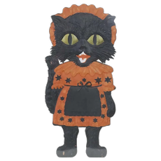 1920's German Embossed Die-Cut Halloween Kitten in Dress