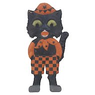 1920's German Embossed Die-Cut Halloween Kitten in Outfit