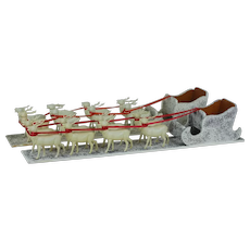 1930's Santa Sleigh with Celluloid Reindeer Pair