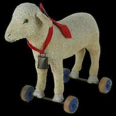 1920's Steiff Wheeled Lamb