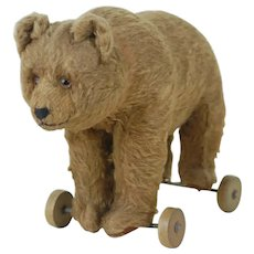 1910's Stuffed Toy Brown Bear on Wheels