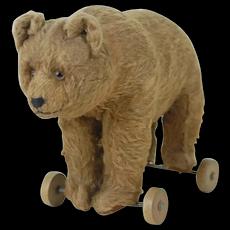 1910's Stuffed Toy Brown Bear on Wheels