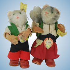 1950's Steiff Lix and Lixie Cats Rubber Bodied Figures
