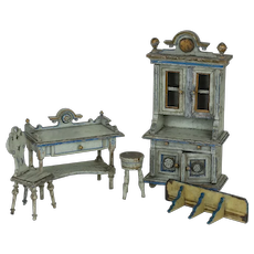 1890's to 1900's Five Piece Dollhouse Furniture Set