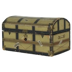 1910's German Dollhouse Lithographed Travel Trunk