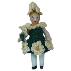 1910's Carl Horn Bisque Miniature in Knitted Flower Dress