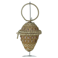 Turn of the Century Hanging Egg Shaped Wicker Basket