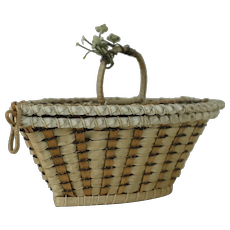 Turn of the Century Flat Topped Wicker Basket