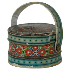 1920's Cardboard Candy Container Basket with Lithograph Patterns.