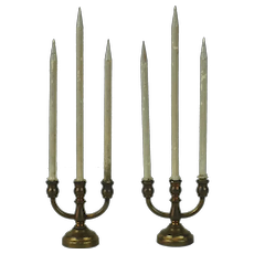 1930's Pair Miniature Brass Candelabras with Long Wax Candles