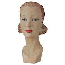 1940's-50's Plaster of Paris Mannequin Bust for Hat Displays