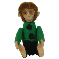 1920's Schuco Felt Monkey with Perfume Container