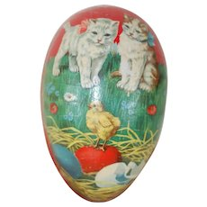Early 20th Century Large German Easter Egg with Dresden Trim and Lithograph
