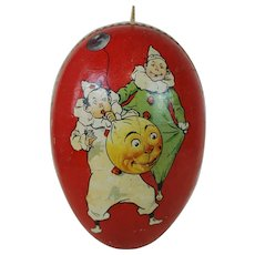 1900's German Easter Egg with Clown Lithograph and White Dresden Trim