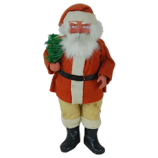 1920's Unusual Wood Cutter Santa Candy Container