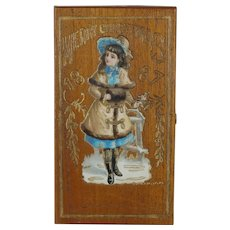 1887 Christmas/New Year Wood Cigar Box