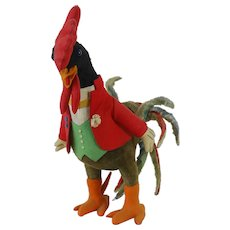 1940's-50's Large Felt Dressed Rooster Toy