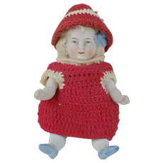1910's All Bisque Hertwig Doll in Crotchet Outfit