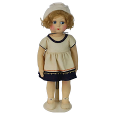 1930's Large Felt Doll with Jointed Body and Socket Head