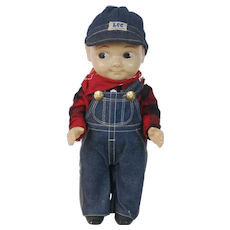 1950's Buddy Lee Advertisement Doll in Plaid Work Shirt