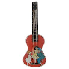 1920's Dresden Guitar Candy Container Ornament